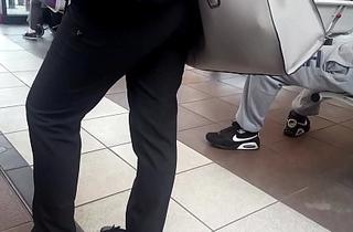 Hidden feet in bus station
