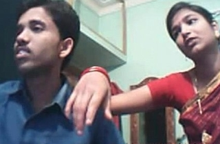 Indian young couple on webcam