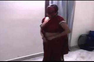 Indian Bhabhi dance far devar In Red Saree