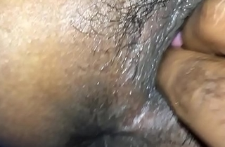 Indian man spying his girlfriend while he fingering her anus and fur pie